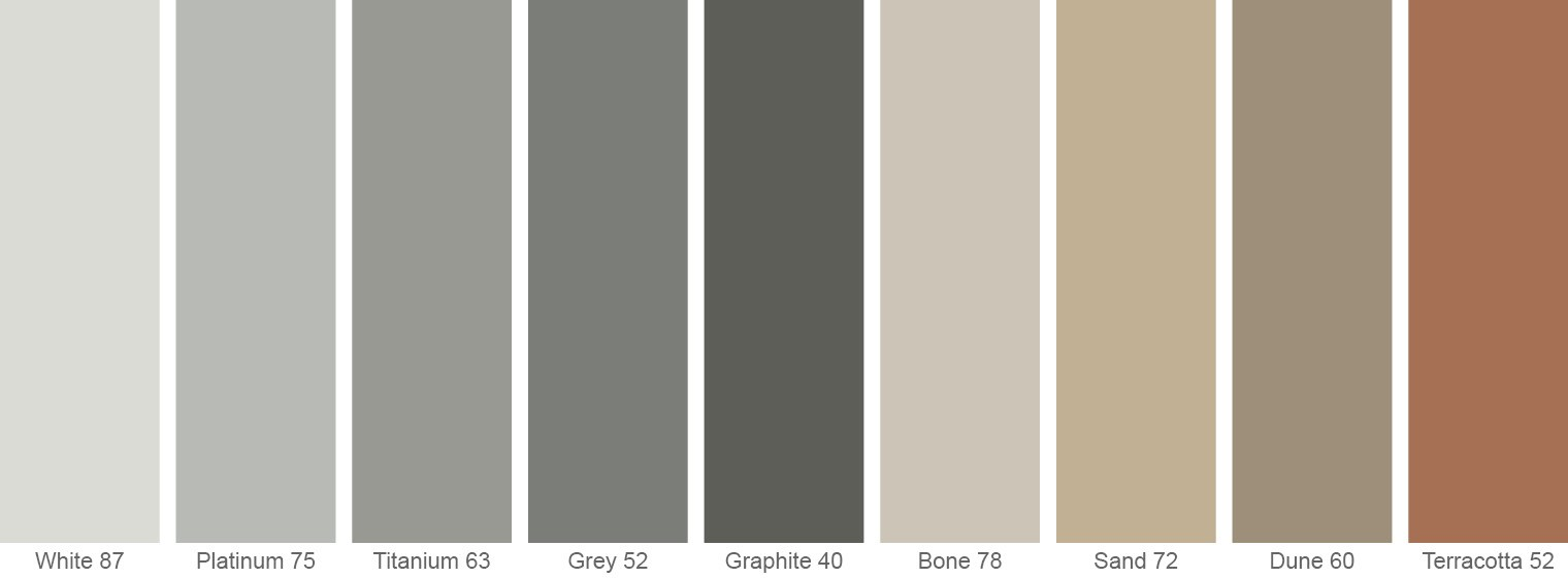 TAKTL has developed nine standard colors for the building industry, with the ability to formulate custom colors as part of our standard program for quantities in excess of 7,000 ft2 (650m2).
