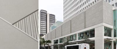 Waikiki Business Plaza (Waikiki, HI) features 7,700 ft² (715m²) of dual texture custom TAKTL Architectural UHPC cladding.